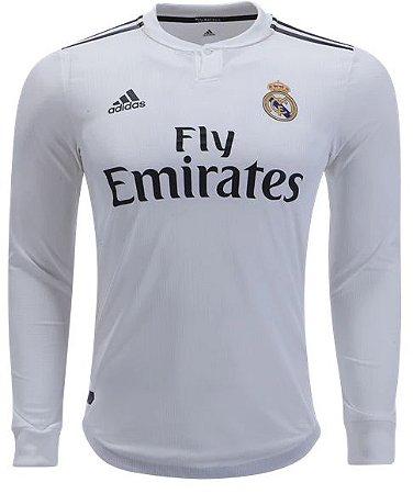 Camisa oficial Adidas Real Madrid 2018 2019 I jogador manga comprida