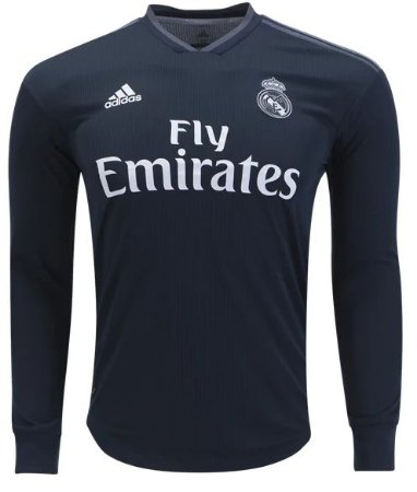 Camisa oficial Adidas Real Madrid 2018 2019 II jogador manga comprida