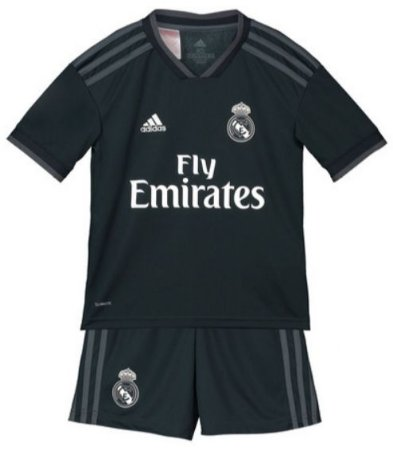 Kit infantil oficial Adidas Real Madrid 2018 2019 II jogador