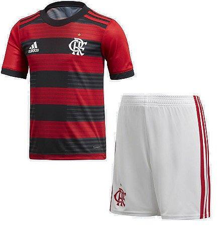 Kit infantil oficial Adidas Flamengo 2018 I jogador