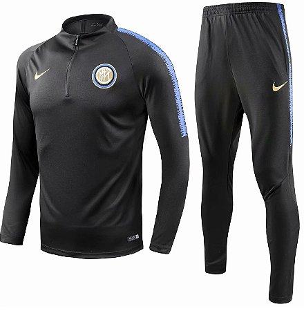 Kit treinamento oficial Nike Inter de Milão 2018 2019 preto e azul