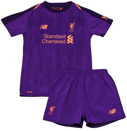 Kit infantil oficial New Balance Liverpool 2018 2019 II jogador