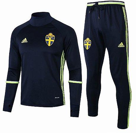 Kit treinamento oficial Adidas seleção da Suécia 2018 Azul