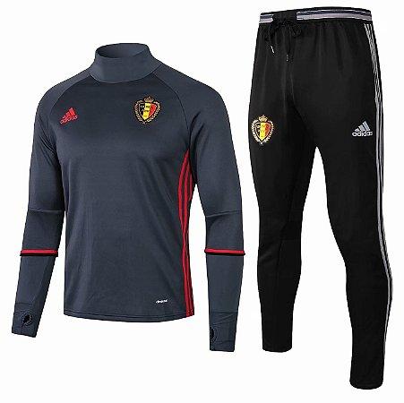 Kit treinamento oficial Adidas seleção da Bélgica 2018 Cinza e preto