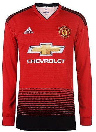 Camisa oficial Adidas Manchester United 2018 2019 I jogador manga comprida