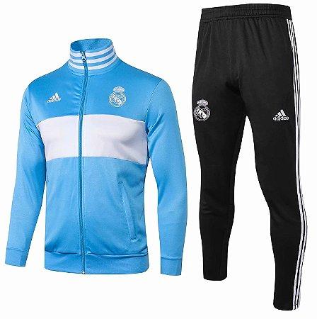 Kit treinamento oficial Adidas Real Madrid 2018 2019 Azul e preto