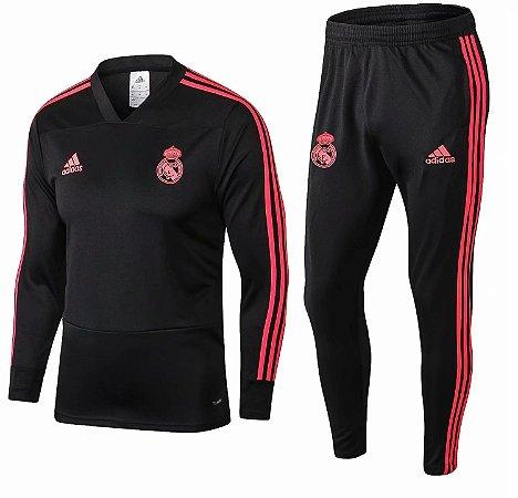 Kit treinamento oficial Adidas Real Madrid 2018 2019 Preto e vermelho