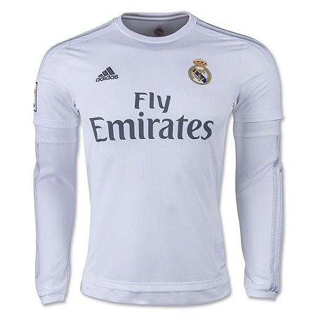 Camisa oficial Adidas Real Madrid 2015 2016 I jogador manga comprida