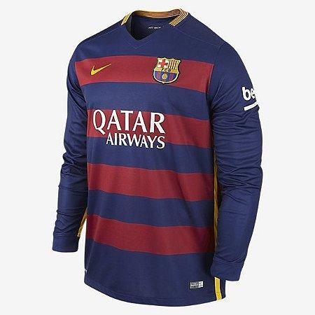 Camisa oficial Nike Barcelona 2015 2016 I jogador manga comprida