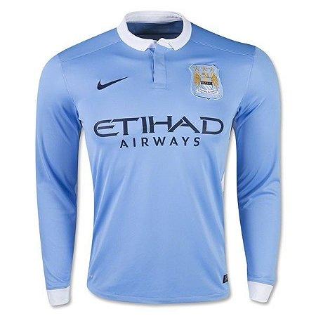 Camisa oficial Nike Manchester City 2015 2016 I jogador manga comprida