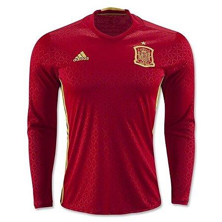 Camisa oficial adidas seleção da Espanha Euro 2016 I jogador manga comprida