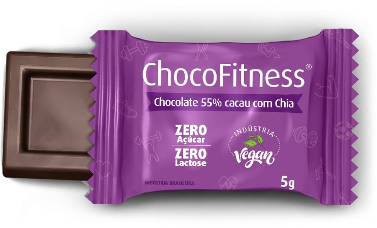 Display CHOCOFITNESS CHIA com 50 Mini Tabletes de 5g - 55% Cacau (Sem Açúcar)