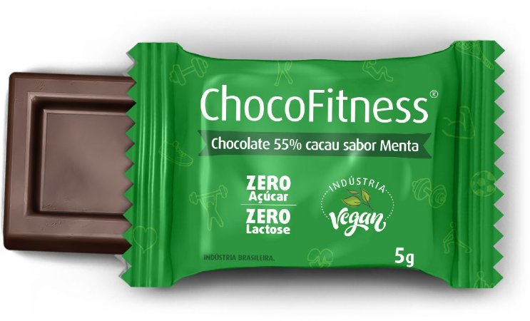 Display CHOCOFITNESS MENTA com 50 Mini Tabletes de 5g - 55% Cacau (Sem Açúcar)