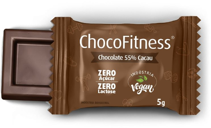 Display CHOCOFITNESS PURO com 50 Mini Tabletes de 5g - 55% Cacau (Sem Açúcar)