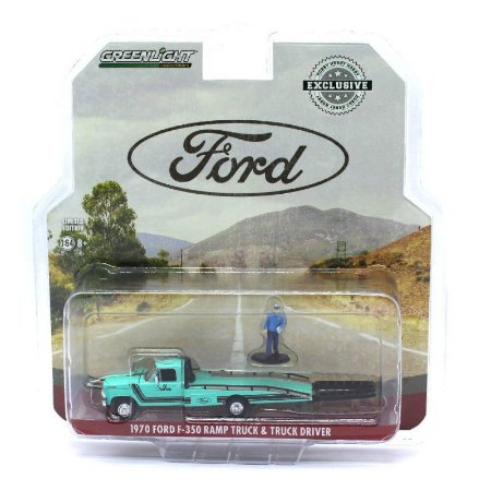 Ford F350 1970 com rampa e motorista 1/64 Greenlight