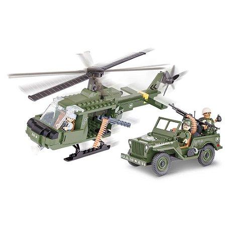 Jeep Willys MB com Helicóptero Blocos de Montar 250 Peças Cobi