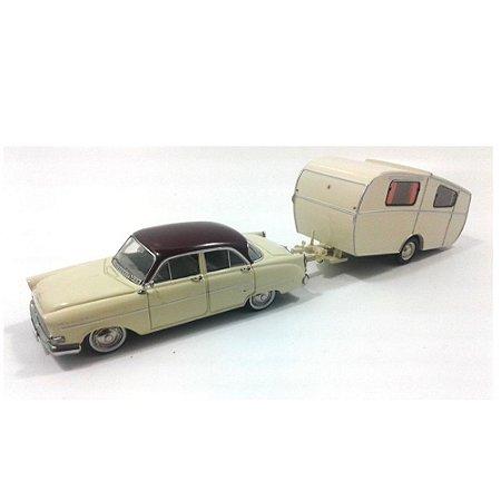 Opel Kapitän mit Anhänger Trailer 1/43 Schuco