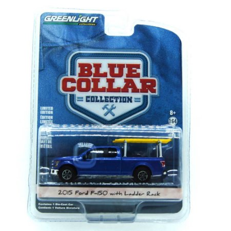 Ford f-150 2015 com Ladder Rack Blue Collar 1/64 Greenlight