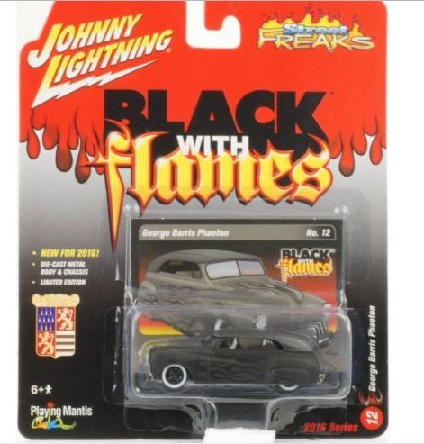 George Barris Phaeton Black With Flames 1/64Johnny Lightning