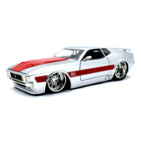 Ford Mustang USA Match 1 Coupe Custom 1973 Prata 1/24 Jada Toys Big Time Muscle