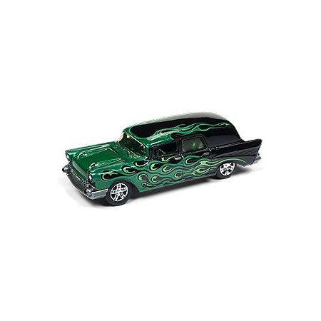 Chevrolet Ambulância 1957 Black With Flames 1/64 Johnny Lightning Street Freaks 2018 Series Release 1 Versão B