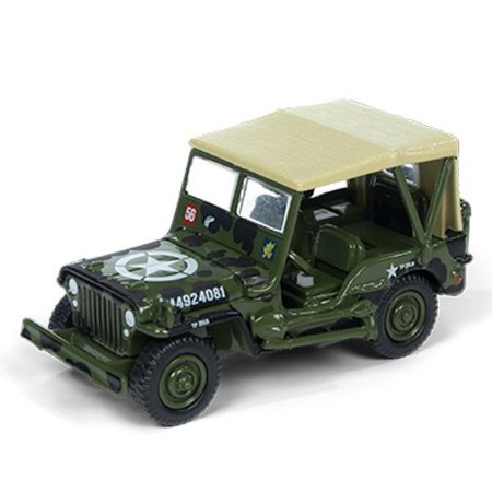 Jeep Willys MB Segunda Guerra Mundial 1/64 Johnny Lightning The Greatest Generation 2018 Release 1 Versão A