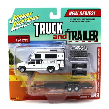 Chevrolet Silverado 2002 Camper 1/64 Johnny Lightning Truck And Trailer Release 1 Versão A