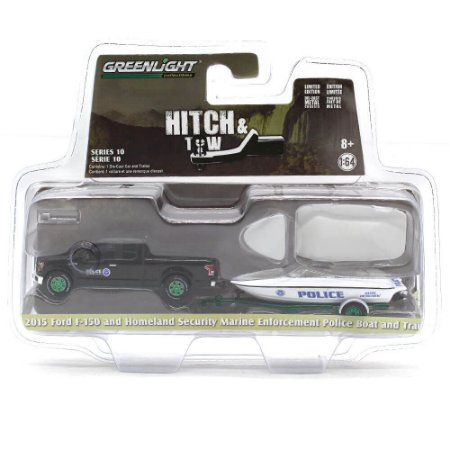 GREEN MACHINE Ford F-150 Homeland Security Marine Enforcement Police Boat and Trailer 1/64 Hitch & Tow Serie 10