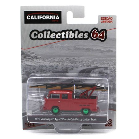 GREEN MACHINE Volkswagen Kombi Type 2 Cabine Dupla Ladder Truck 1/64 Greenlight California Collectibles 64