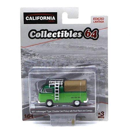 GREEN MACHINE Volkswagen Kombi Type 2 Cabine Dupla Pickup 1971 1/64 Greenlight California Collectibles 64
