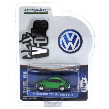 GREEN MACHINE Volkswagen Fusca Type 1 1940 Janela Dividida 1/64 Greenlight V-Dub Club Serie 2