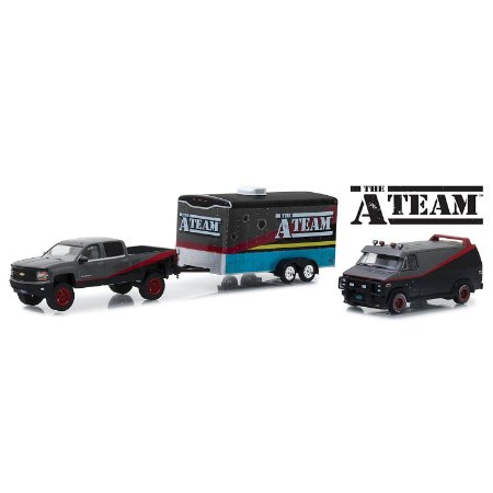 Chevrolet Silverado 2015 e GMC Vandura 1983 A-Team Esquadrão Classe A Trailer 1/64 Greenlight Hitch & Tow Serie 5