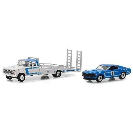 Caminhão Ford F-350 1969 e Ford Mustang Boss 302 1969 HD Trucks Serie 15 1/64 Greenlight