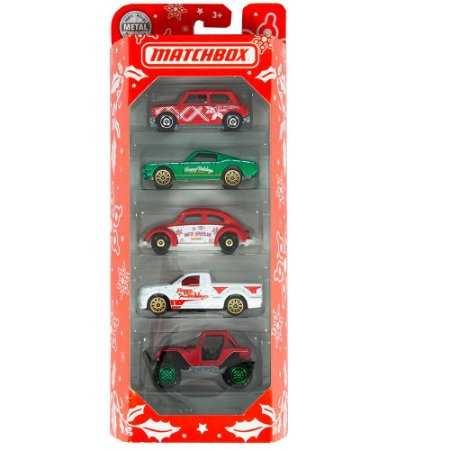 Pack com 5 miniaturas Natal contendo Fusca 1/64 Matchbox