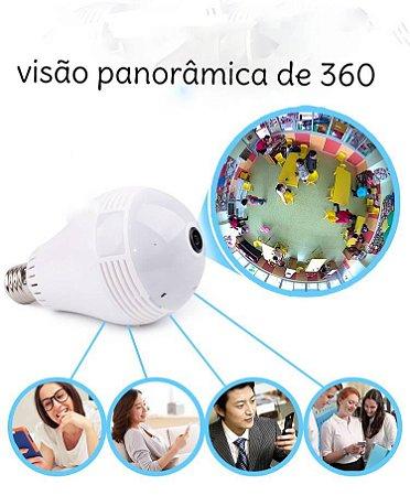 Lâmpada Câmera de Segurança Espiã Ip VR-Cam 360 Panorâmica