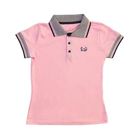 Blusa Gola Polo - Piquet - Feminino - Adulto - Rosa - Top Roupas ... 7a728cf132c81