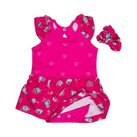 88b5b7ad43 Vestido c  Body e Laço - Bebê - Pink - Feminino - Top Roupas ...