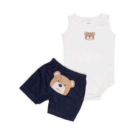 Conjunto Body e Short Ursinho - Bebê - Off White/Marinho - Masculino