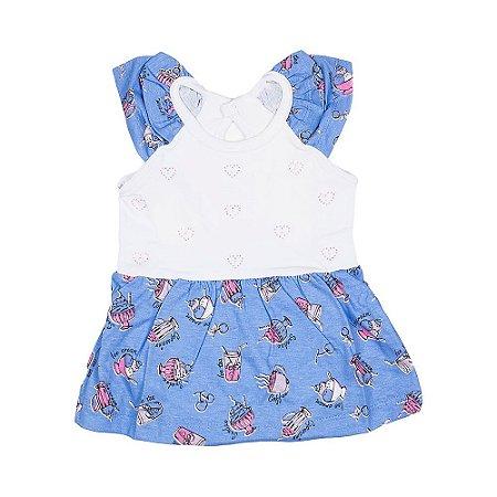 Vestido c/ Body e Laço - Bebê - Azul - Feminino