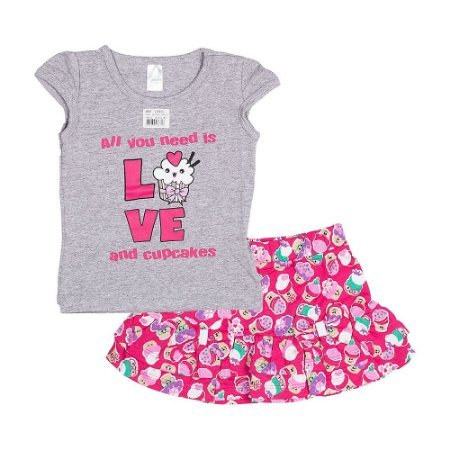 Conjunto Blusa e Short - Bebê - Mescla/pink - Feminino