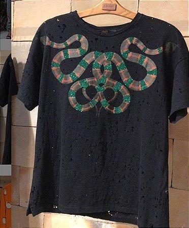 T-shirt Decote Snake Animale