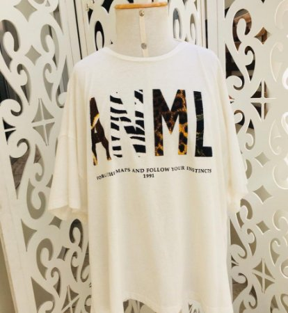 T-shirt Decote Snake Animale Branca
