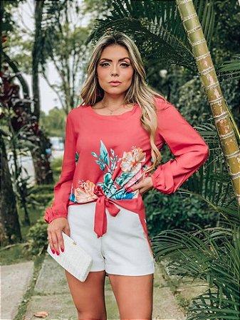 LHB Blusa Flores Nó Frontal