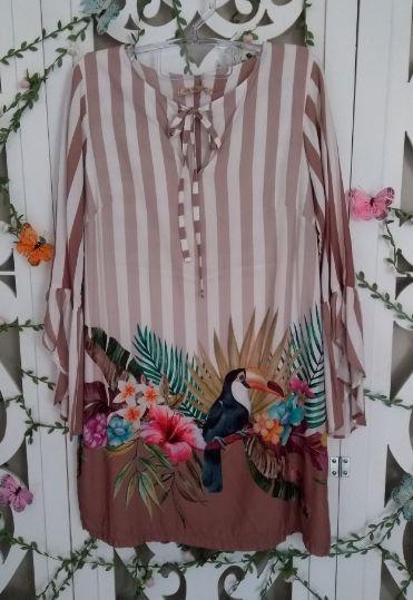LHB Vestido Listras Tropicais