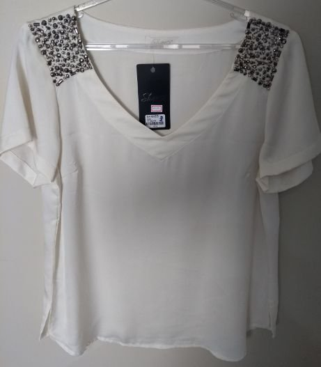 Shanes Blusa Strass Ombro