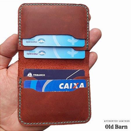 e353e94987771 Carteira Masculina Porta Cartão Em Couro Feita a Mão - Clean Car Franca