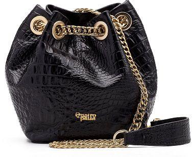 Bucket Bag Beatriz   Couro Croco Black