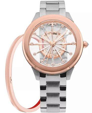 Relógio Technos Feminino Elegance Crystal F03101AB/K1W + Bracelete