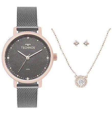Relógio Technos Feminino 2035MMO/K5C + Colar e brincos