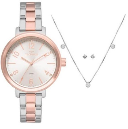 Relógio Technos Feminino 2035MMV/K4K + Colar e brincos